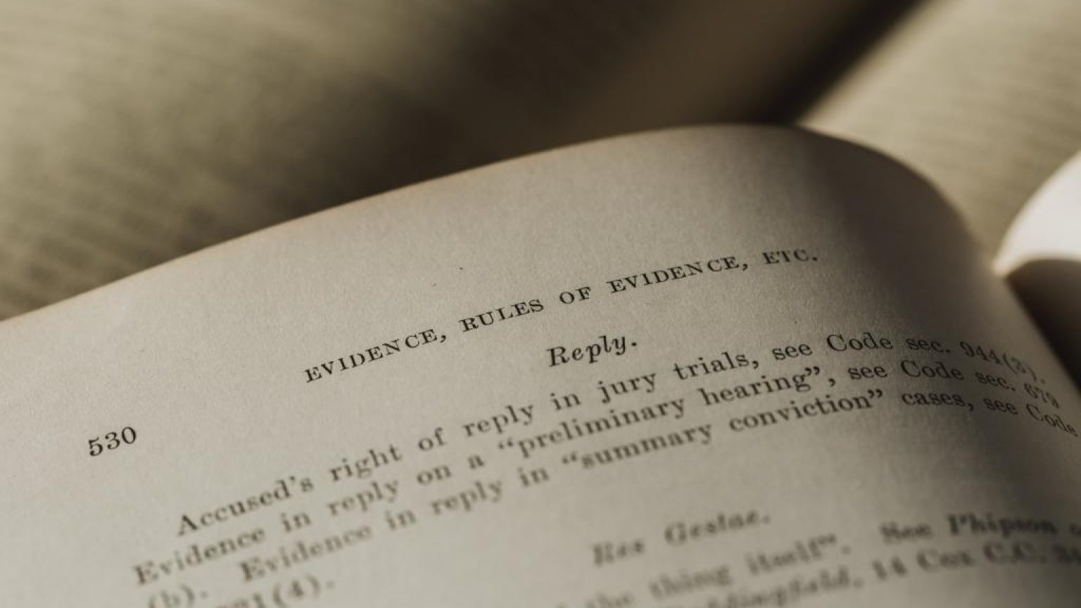 Evidence page in law book 1024x683